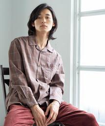 ブリティッシュチェックオープンカラーシャツ