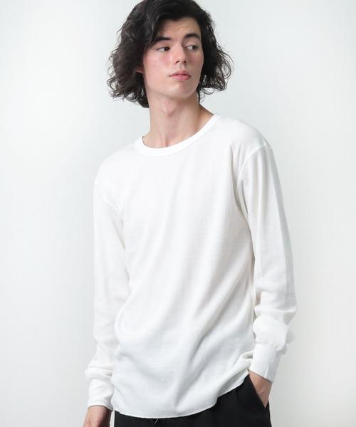 【HealthKnit/ヘルスニット】ベーシックワッフルクルーネック長袖Tシャツ 602L SIP