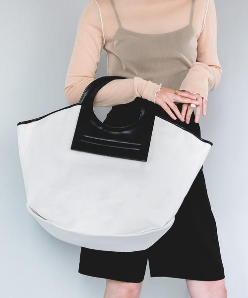 【chuclla】Leather handle canvas 2way big bag cha203