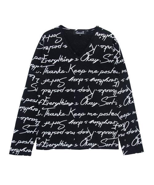 英字総柄プリントVネック長袖Tシャツ / CAST18-154
