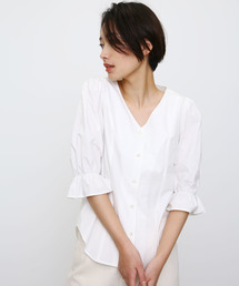 BLACK BY MOUSSY(ブラックバイマウジー)のgather v neck 7sleeve sh(Tシャツ/カットソー)