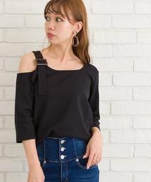 SpRay(スプレイ)のバックルベルト付肩あき七分Tシャツ(Tシャツ/カットソー)