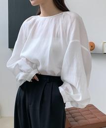【chuclla】Tack design sheer volume blouse sb-5 chw1036ホワイト