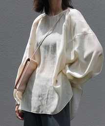 【chuclla】Tack design sheer volume blouse sb-5 chw1036ライトベージュ