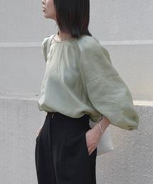 【chuclla】Tack design sheer volume blouse sb-5 chw1036ミント
