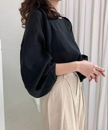 【chuclla】Tack design sheer volume blouse sb-5 chw1036ブラック