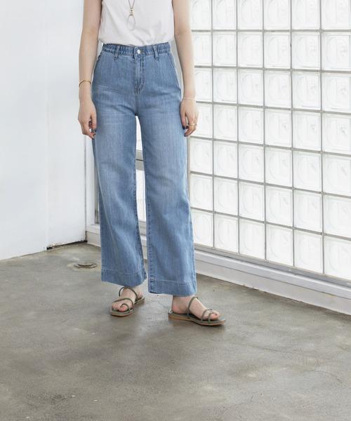 denim wide straight pants