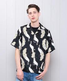 <NIPOALOHA>SILK PEACOCK BLACK SHIRT/シャツ