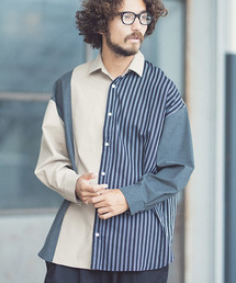 ANGENEHM(アンゲネーム)のms3967-Stripe Combination Crazy Over Size Shirts (MADE IN JAPAN) シャツ(シャツ/ブラウス)