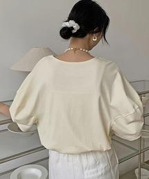 【chuclla】【2021/SS】Round neck puff sleeve T-shirt  chw1552クリーム
