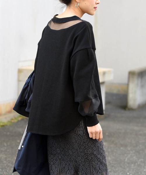 【Eimee Law】チュール×オーガンジー切替7分袖ワッフルプルオーバー