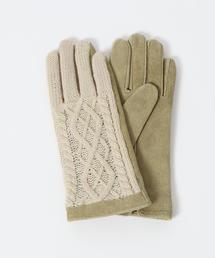 レザー×ニットコンビグローブ(手袋)