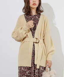 natural couture(ナチュラルクチュール)のベルト付きミドルカーディガン(カーディガン)