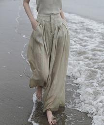 【chuclla】【2021/SS】Linen sheer wide pants chw1553グレイッシュベージュ