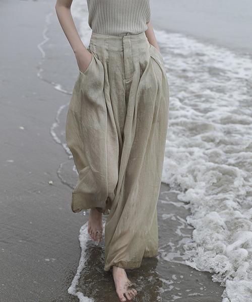 【chuclla】【2021/SS】Linen sheer wide pants chw1553