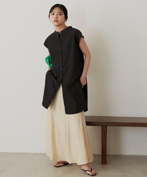 フレンチブラウス×淡色スカート