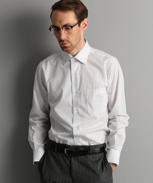 【WORK TRIP OUTFITS】ワイドカラー コンビストライプ シャツ <スリムフィット>