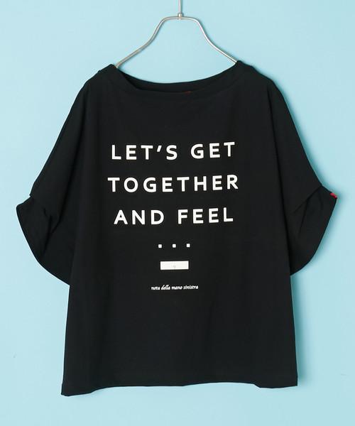 nota della mano sinistra/タックスリーブロゴTシャツ