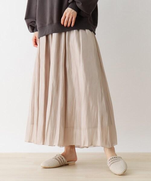 Cutie Blonde(キューティーブロンド)の「【S-L】シャイニーロングスカート(スカート)」 ライトベージュ