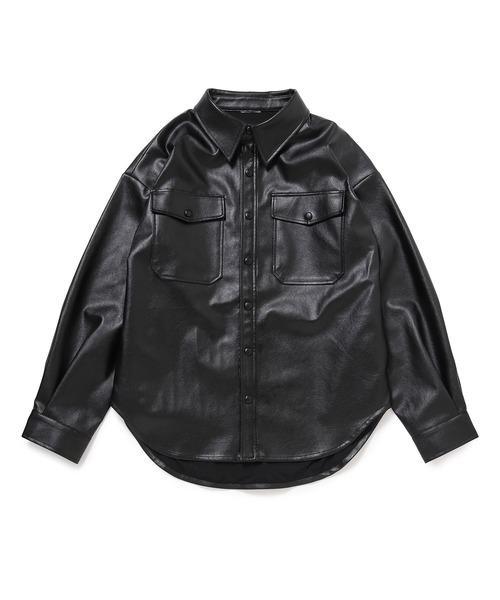 【Bonjour Girl】21SSエコレザー オーバーサイズシャツジャケット