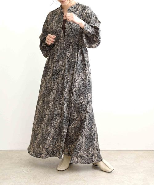レトロプリントシャツワンピースドレス