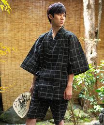 KIMONOMACHI(キモノマチ)の甚平 メンズ しじら織り綿麻甚平(浴衣)