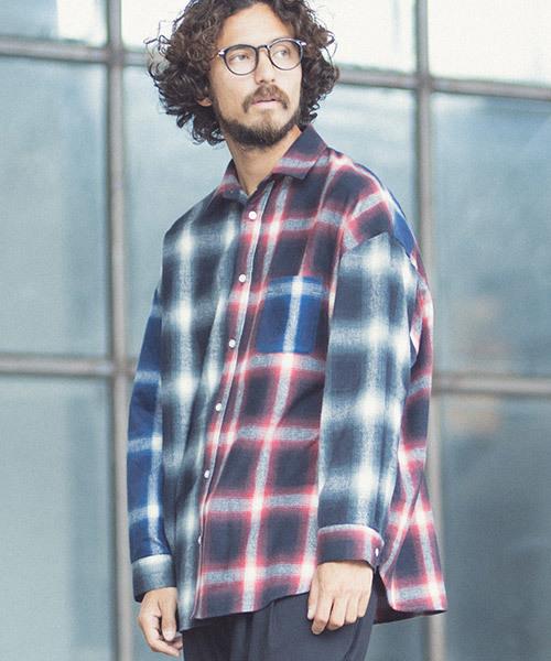 品質は非常に良い ms3964-Ombre Check Crazy Over Size Shirts (MADE IN JAPAN) シャツ, koreaVOCE d329a937