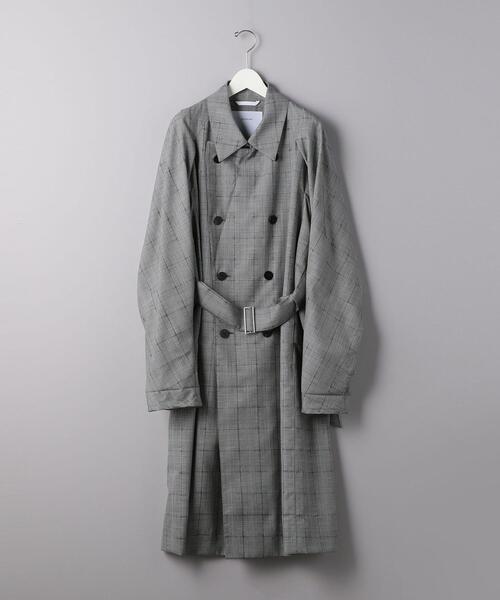 <OVER COAT (オーバーコート) > グレンチェック ラグランスリーブ コート