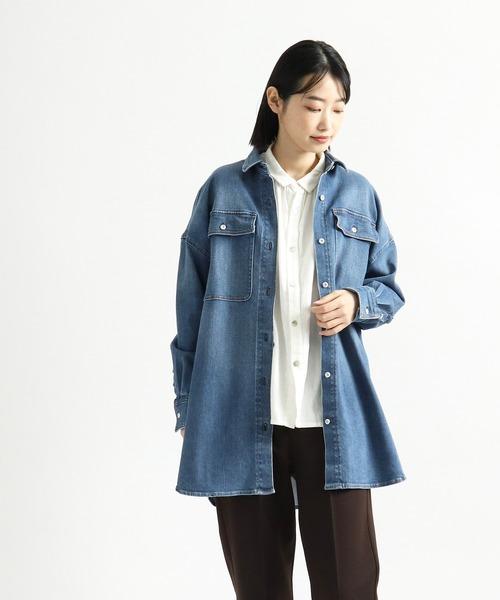 【 Healthy Denim  /  ヘルシーデニム  】ビッグシャツジャケット Almond HL68620-ed/em
