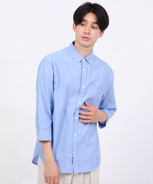 リネン混7分袖シャツ