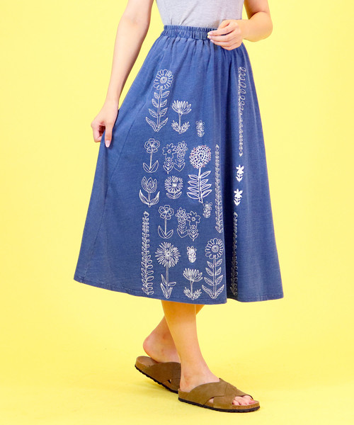 【BARNDOOR / バーンドア】花柄刺繍xプリントスカート BUR