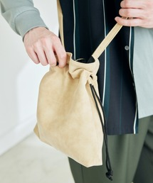 巾着ショルダーバッグ(PUソフトレザー/テックスウェード)ベージュ