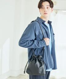 巾着ショルダーバッグ(PUソフトレザー/テックスウェード)ブラック