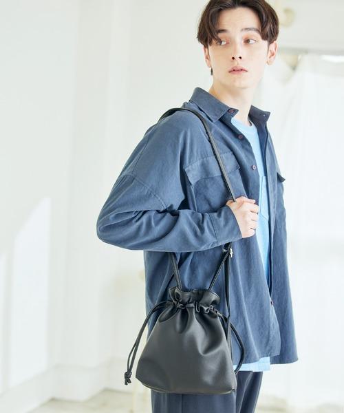 巾着ショルダーバッグ(PUソフトレザー/テックスウェード)