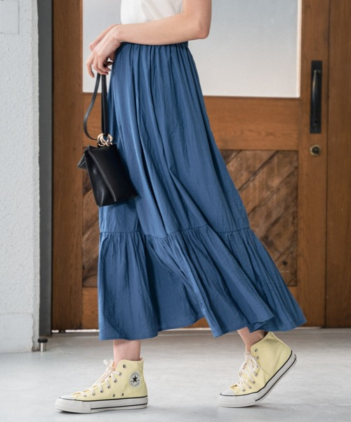 Andemiu(アンデミュウ)の「ワッシャーティアードスカート940190(スカート)」|ブルー