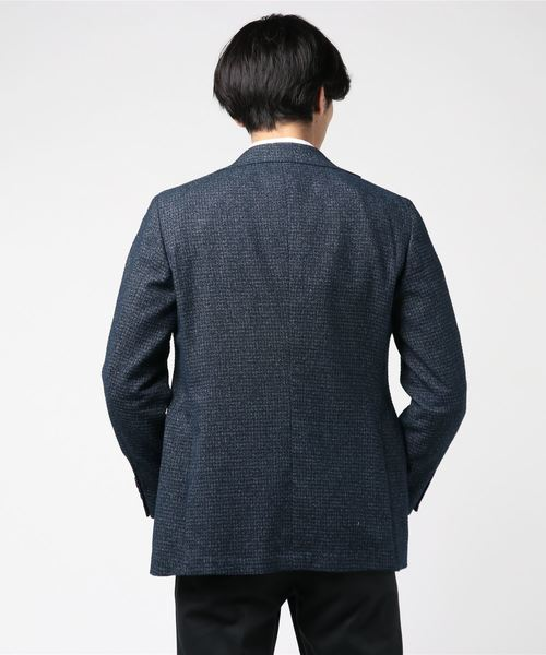 エムエフエディトリアルメンズ/m.f.editorial:Men フォルテックス/FORTEX ブークレーマイクロチェックネイビー2釦シングルジャケット