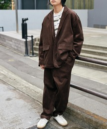 【セットアップ】ビッグシルエット オーバーサイズ コーデュロイ シングルジャケット & タックテーパードパンツダークブラウン