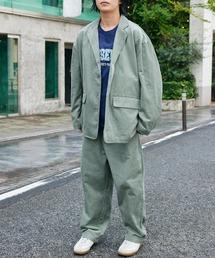 【セットアップ】ビッグシルエット オーバーサイズ コーデュロイ シングルジャケット & タックテーパードパンツグリーン系その他