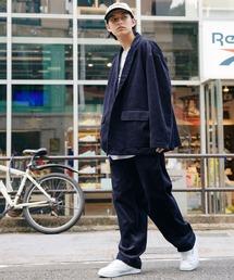 【セットアップ】ビッグシルエット オーバーサイズ コーデュロイ シングルジャケット & タックテーパードパンツネイビー