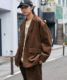 【セットアップ】ビッグシルエット オーバーサイズ コーデュロイ シングルジャケット & タックテーパードパンツブラウン