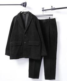 【セットアップ】ビッグシルエット オーバーサイズ コーデュロイ シングルジャケット & タックテーパードパンツブラック