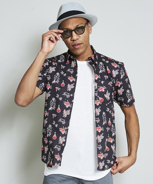 Circus textile Aloha shirt / 総柄 / プリント