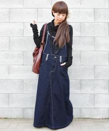 and it_(アンドイット)のマキシ丈ゆるデニムサロペットスカート【ジャンパースカート】(ジャンパースカート)
