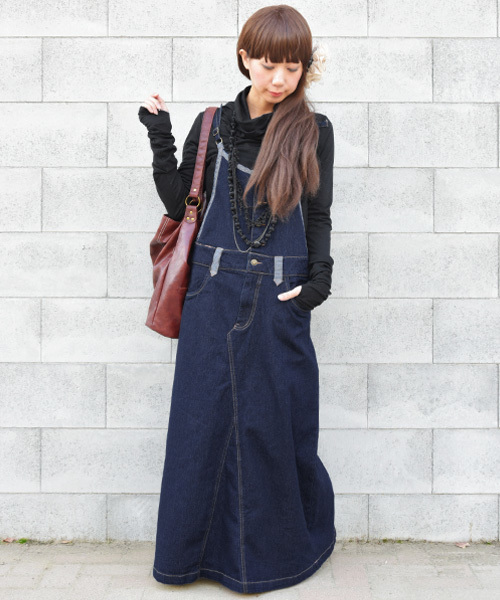 and it_(アンドイット)の「マキシ丈ゆるデニムサロペットスカート【ジャンパースカート】(ジャンパースカート)」|ネイビー