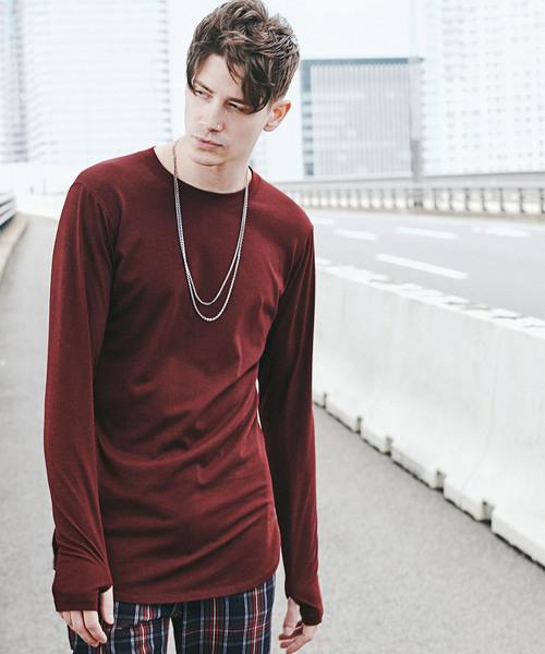 CHORD NUMBER EIGHT(コードナンバーエイト)の「LONG CUTSEW(Tシャツ/カットソー)」|バーガンディー