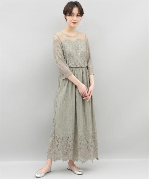 33d20305afba1 ADAM ET ROPE (アダム エ ロペ)のチュールパネルレースドレス(ドレス