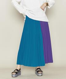ASTRAET(アストラット)バイカラー マキシ丈 プリーツスカート