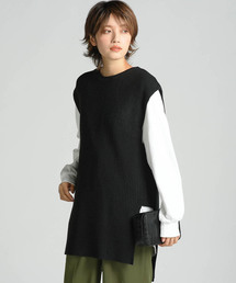 LIPSTAR(リップスター)の【セット商品】スリットチュニックニットベスト×ロングTシャツ(ベスト)