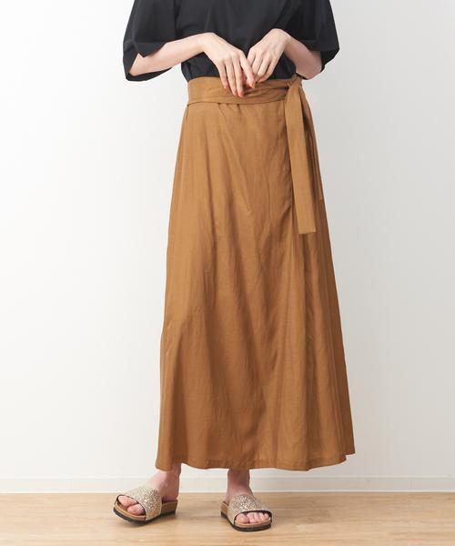 collex(コレックス)の「ラップマキシスカート(スカート)」|ダークベージュ