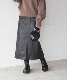 Iラインフェイクレザースカート